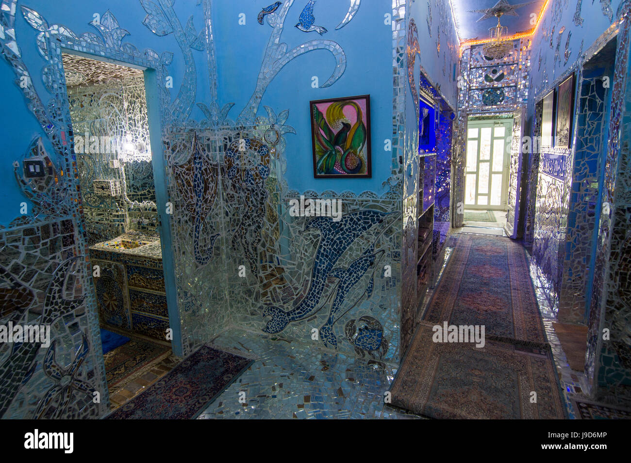Des murs couverts de miroir dans la maison musée de miroirs, Koweït City, Koweït, Moyen-Orient Photo Stock