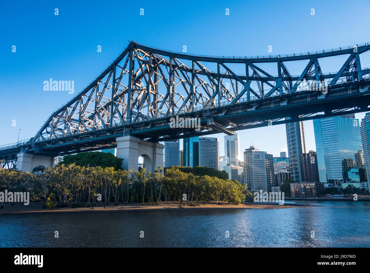 Pont de fer (Story Bridge) sur la Rivière de Brisbane, Brisbane, Queensland, Australie, Pacifique Photo Stock