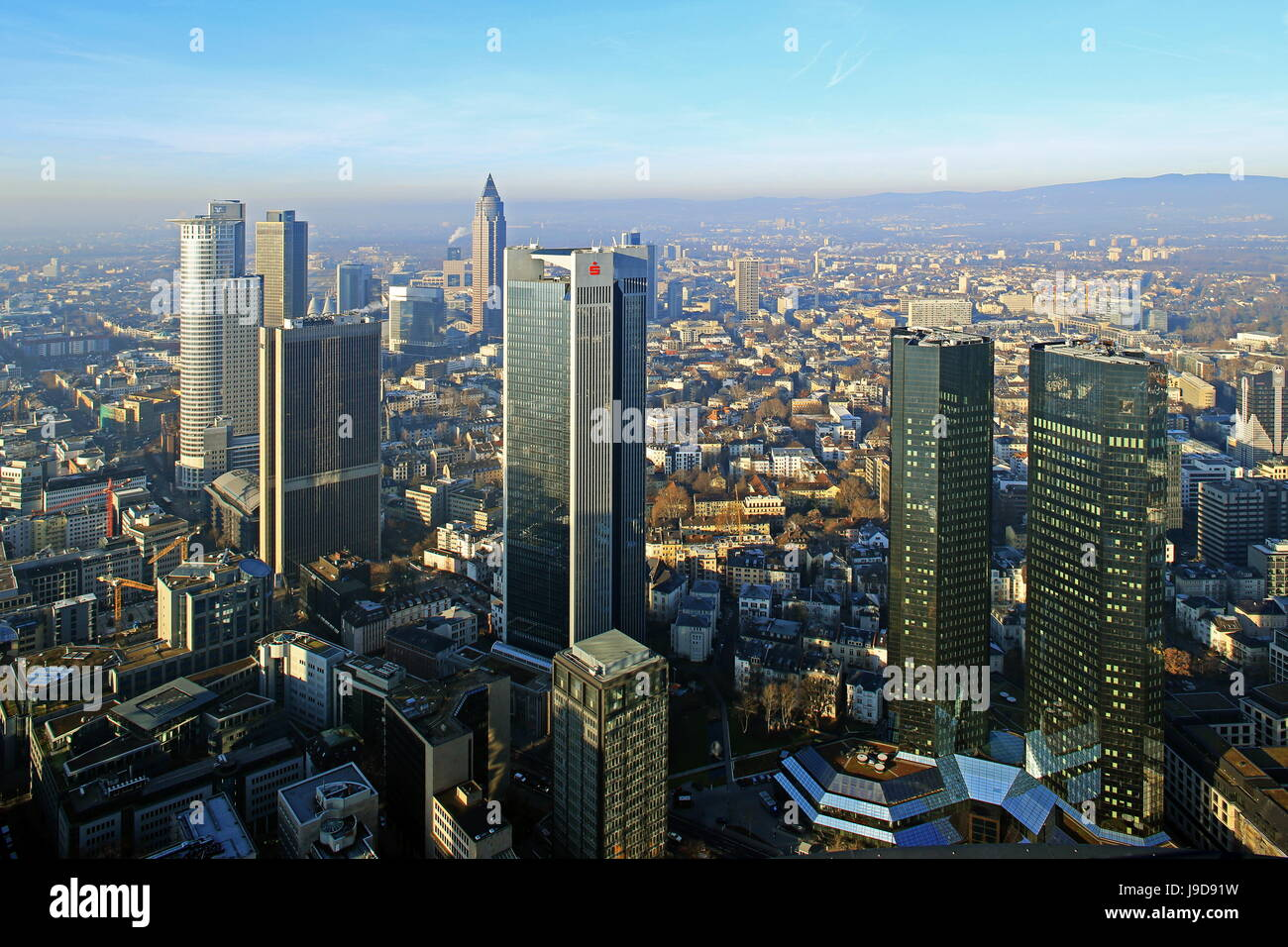 Voir à partir de la Maintower à Financial District, Frankfurt am Main, Hesse, Germany, Europe Photo Stock