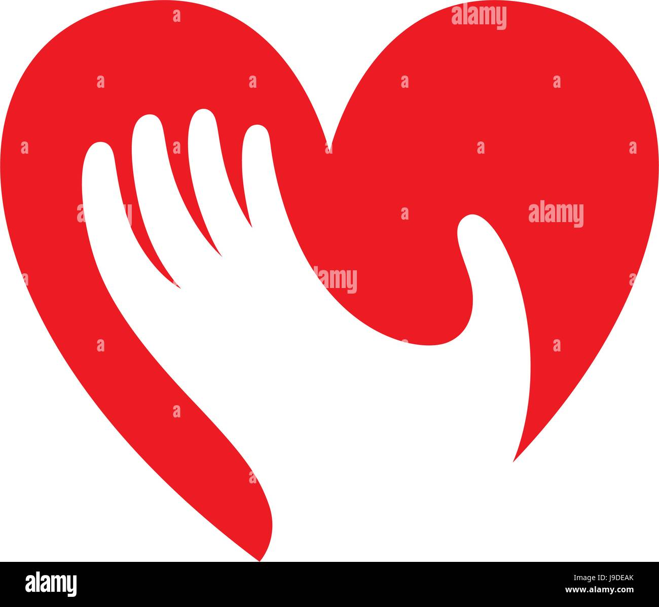 Coeur avec symbole main, signer, icône, logo modèle pour la charité, de la santé, bénévoles, Photo Stock