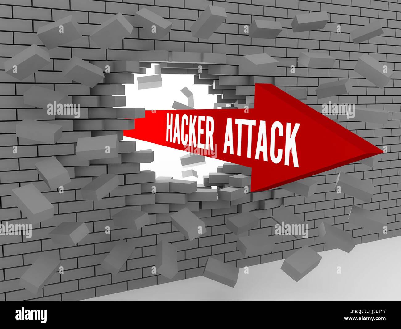 Flèche avec mots Attaque de Hacker casser mur de briques. Concept 3D illustration. Photo Stock