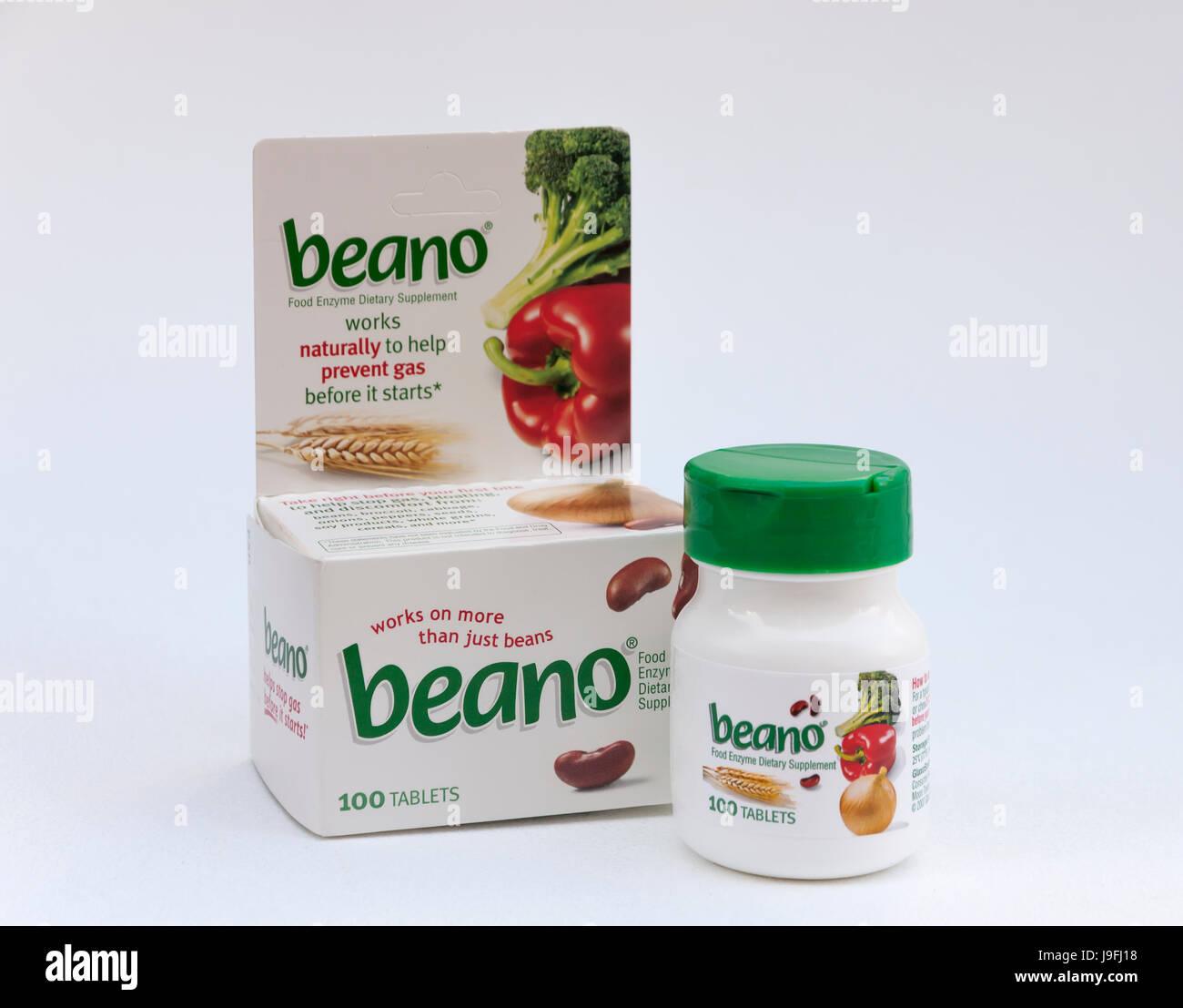 Beano aide à prévenir les gaz avec des enzymes naturels qui décomposent les glucides complexes contenus Photo Stock
