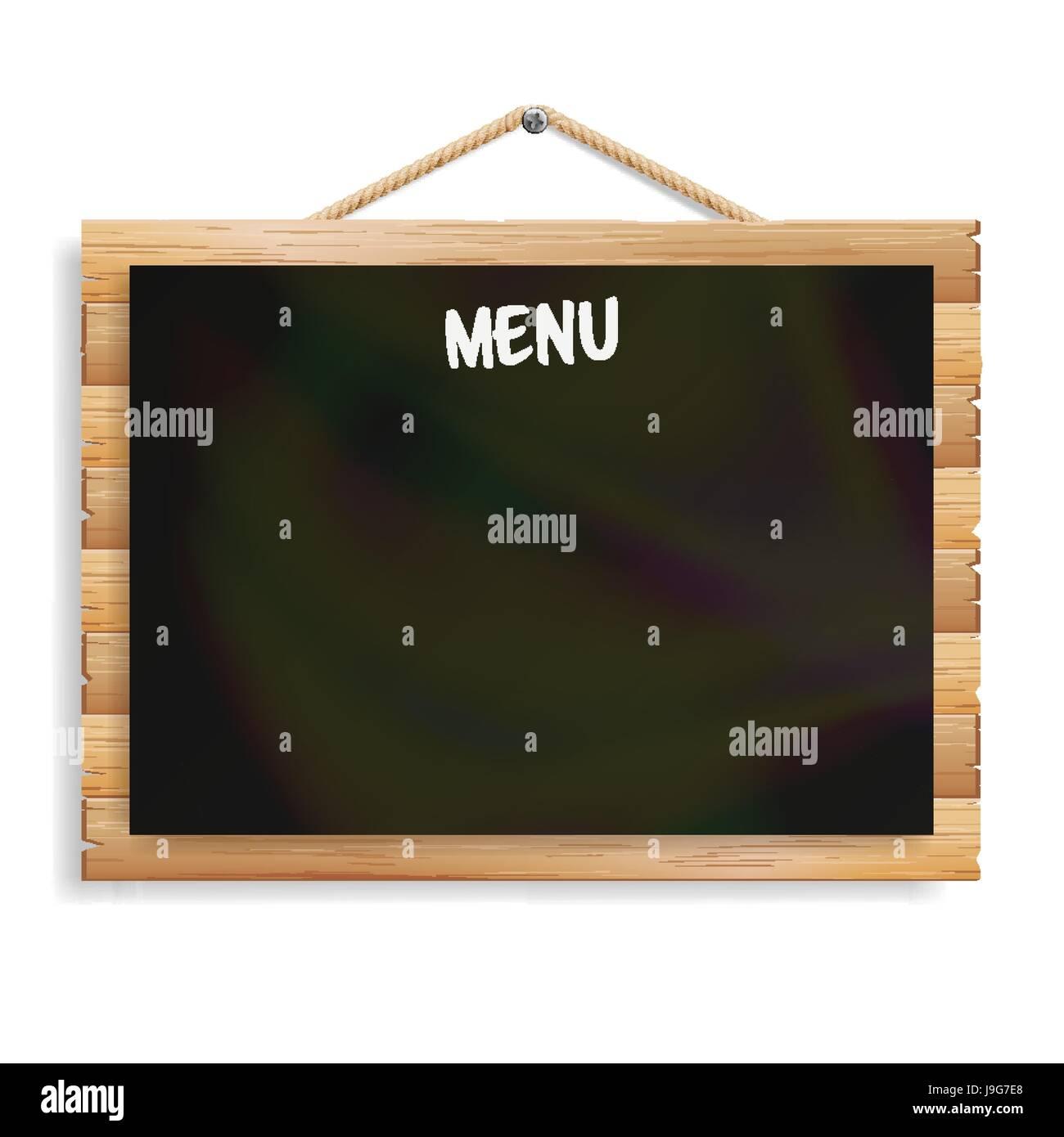 Panneau De Menu Cafe Ou Restaurant Menu Carte Noire Bulletin Isole Sur Fond Blanc Black Realiste Pancarte Ardoise Avec Cadre En Bois La Pendaison Vector Illustration Image Vectorielle Stock Alamy