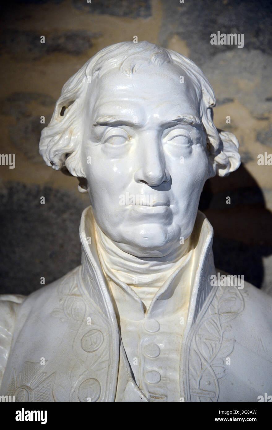 Buste en marbre de l'Ingénieur Naval Jacques-Noël Sané français (1740-1831) Photo Stock