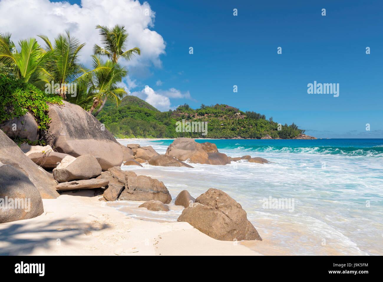 Excellente plage plages tropicales, Intendance, l'île de Mahé, Seychelles. Photo Stock