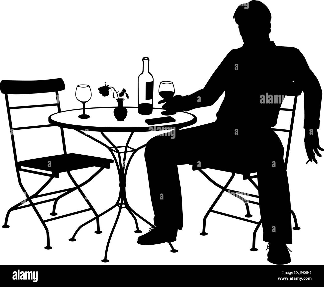 Editable vector silhouette d'un homme boire du vin par lui-même à une table pour deux avec tous les Photo Stock