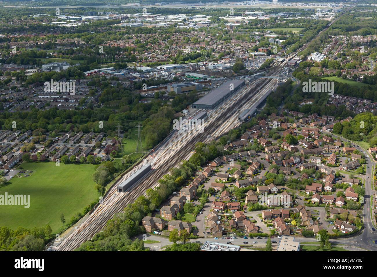 Siemens, trois ponts de l'installation d'opérations, Crawley, West Sussex est de plus de 1,4 kilomètres Photo Stock