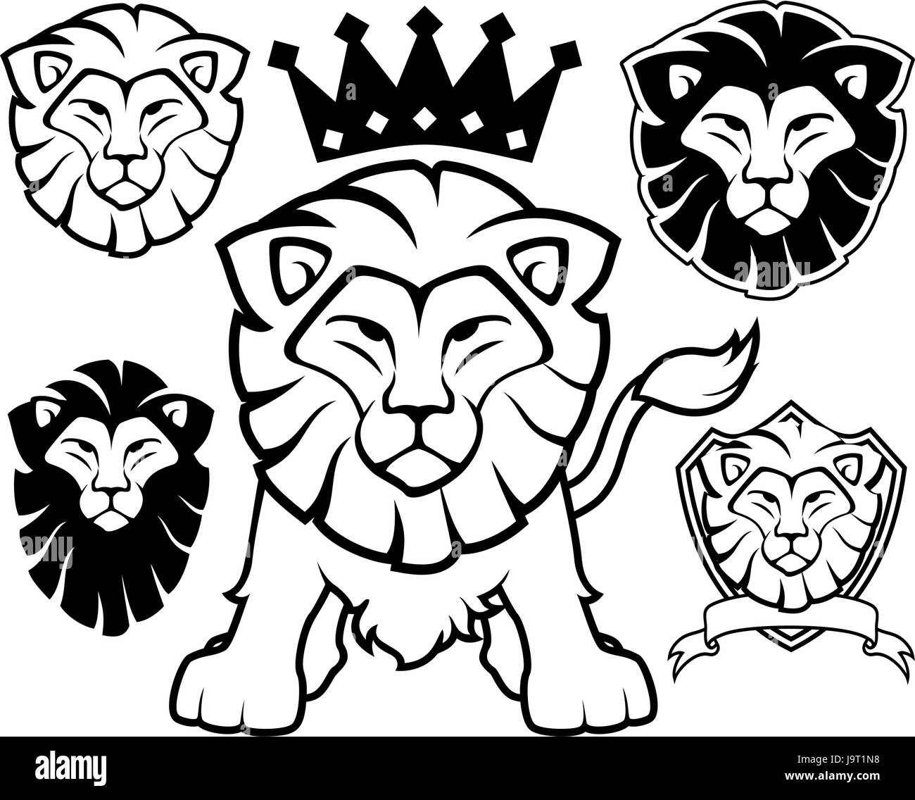 Tête De Lion Dessins Isolé Sur Fond Blanc En Format