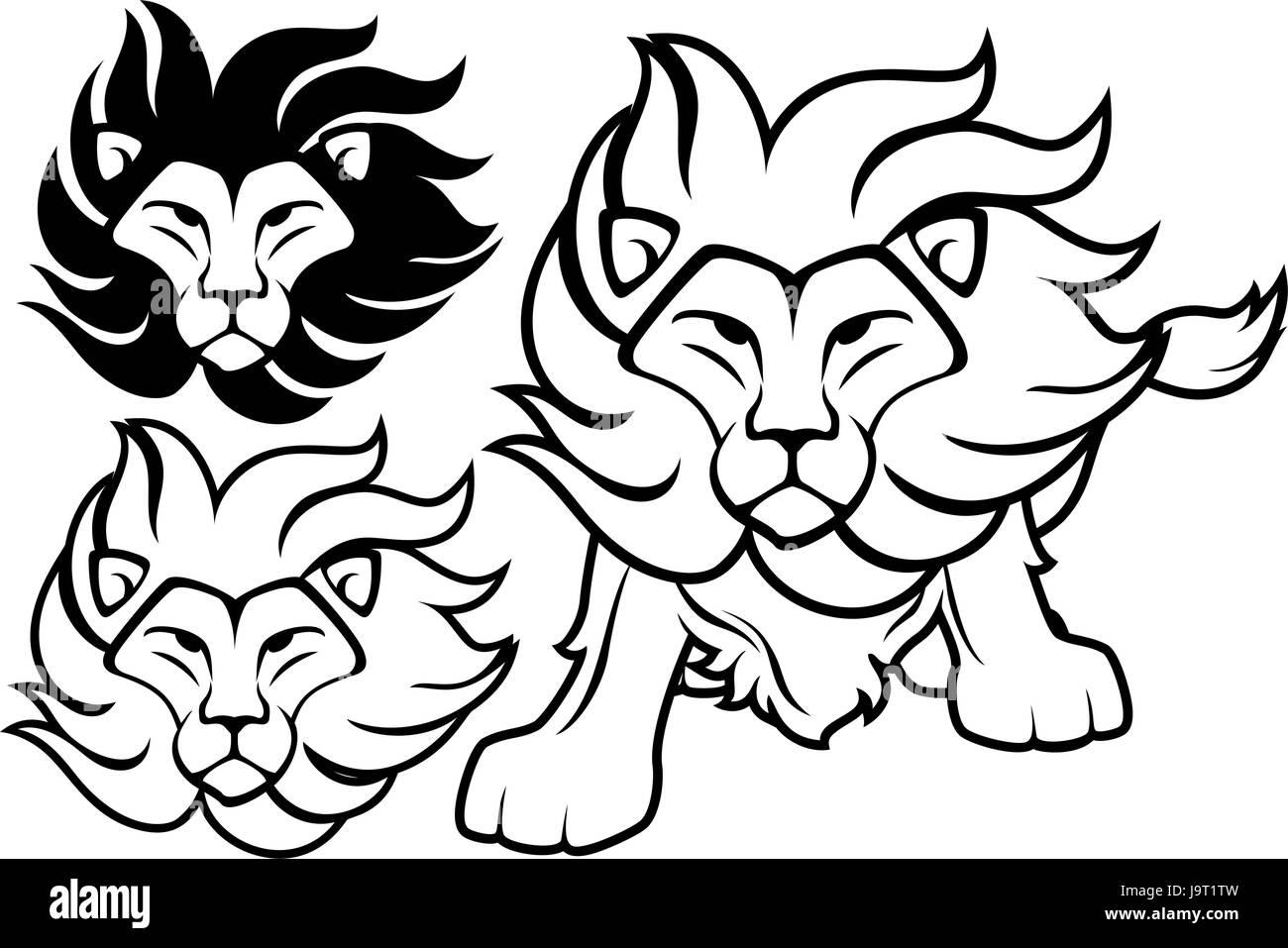 Vue De Face De La Tête De Lion Et Dessins Isolé Sur Fond