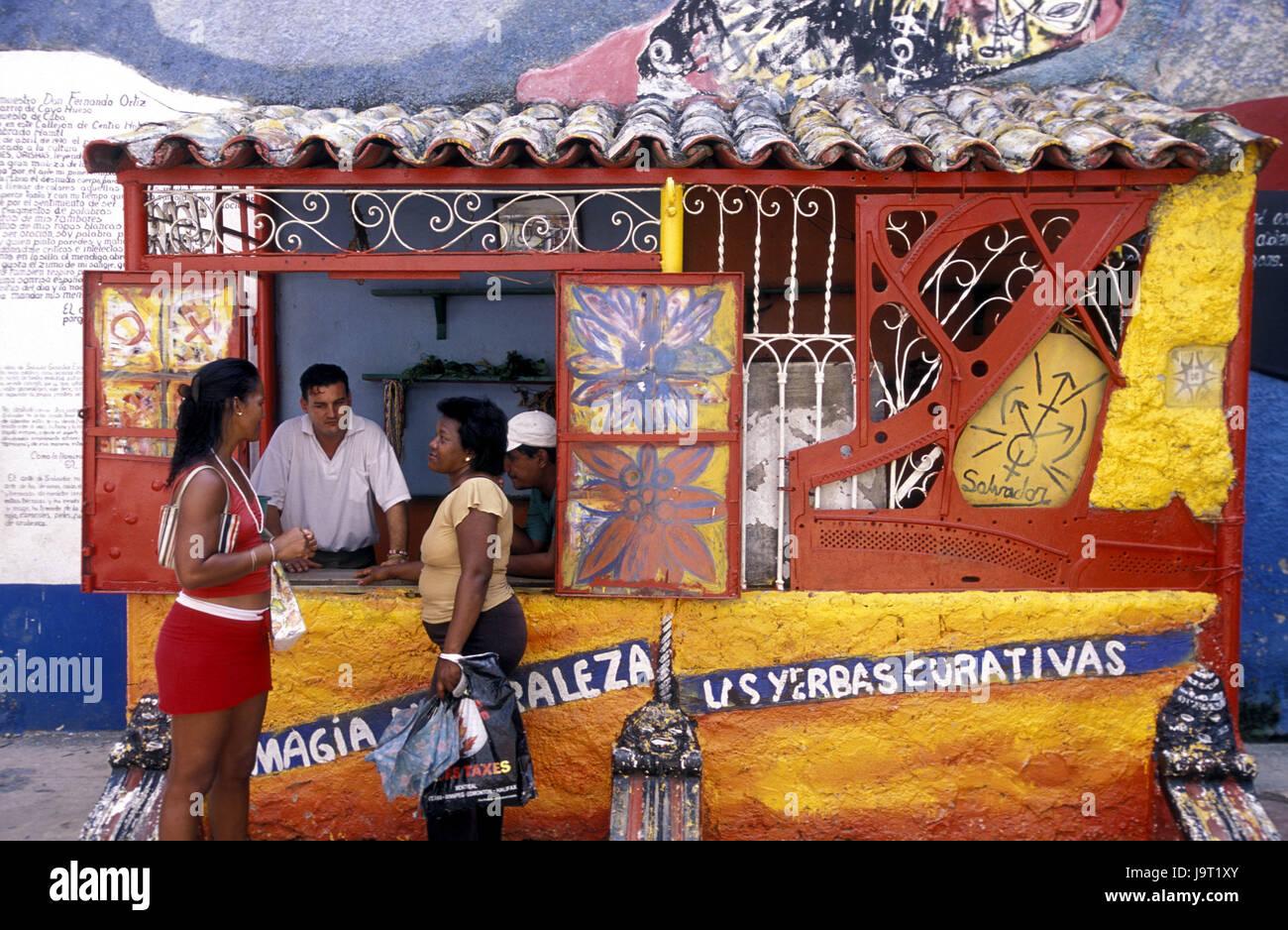 Cuba La Havane,,Callejon de moutons,business,façade,Peinture,des,clients,modèle ne libération, Amérique Photo Stock