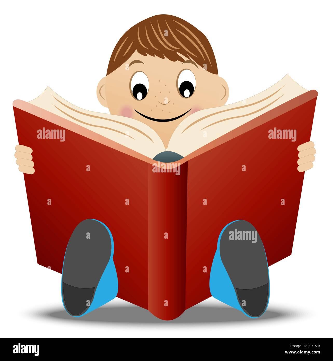 Petit Garcon Lire Livre Vector Illustration Vecteurs Et