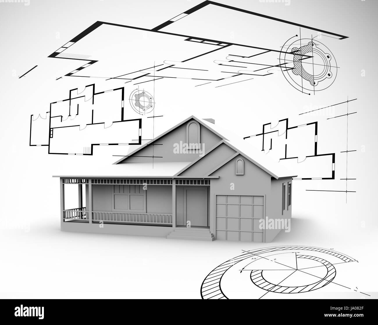 Grande maison en gris avec des plans d'architecte autour d'elle Photo Stock