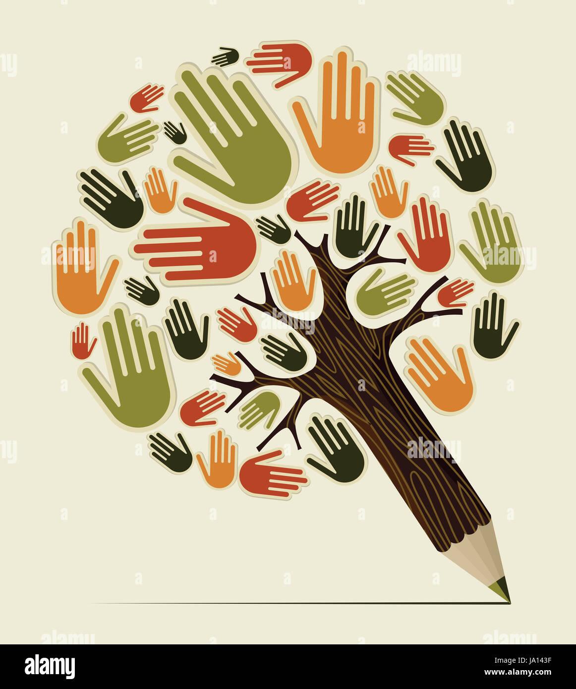 Les gens de la diversité. arbre crayon concept main Couches d'illustration vectorielle pour une manipulation facile Banque D'Images