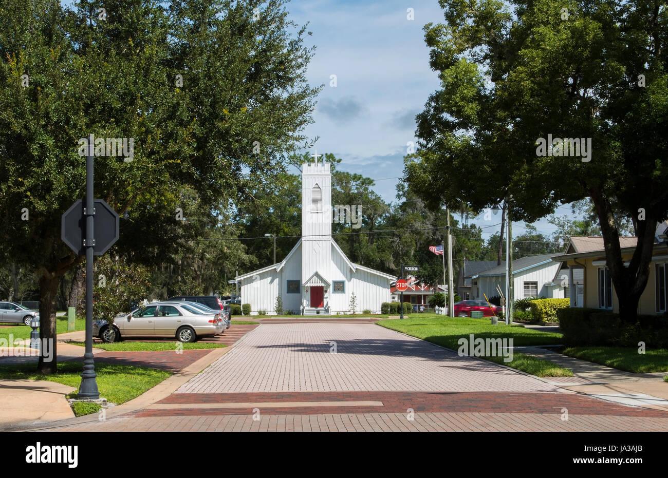 Longwood Florida Christ Church 1879 vieille église historique au centre-ville de petite ville, Banque D'Images