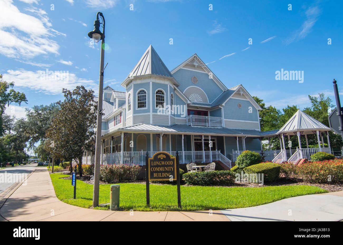 Longwood Florida maison victorienne historique appelé Communauté Longwood Building au centre-ville de petite ville, Banque D'Images