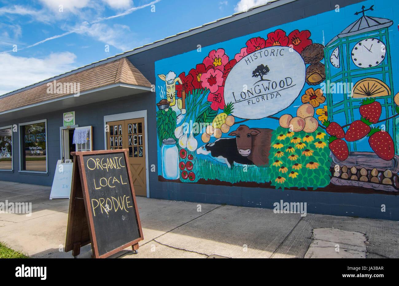 Longwood Florida 1878 artwork murale sur mur dans le centre-ville de petite ville, Banque D'Images