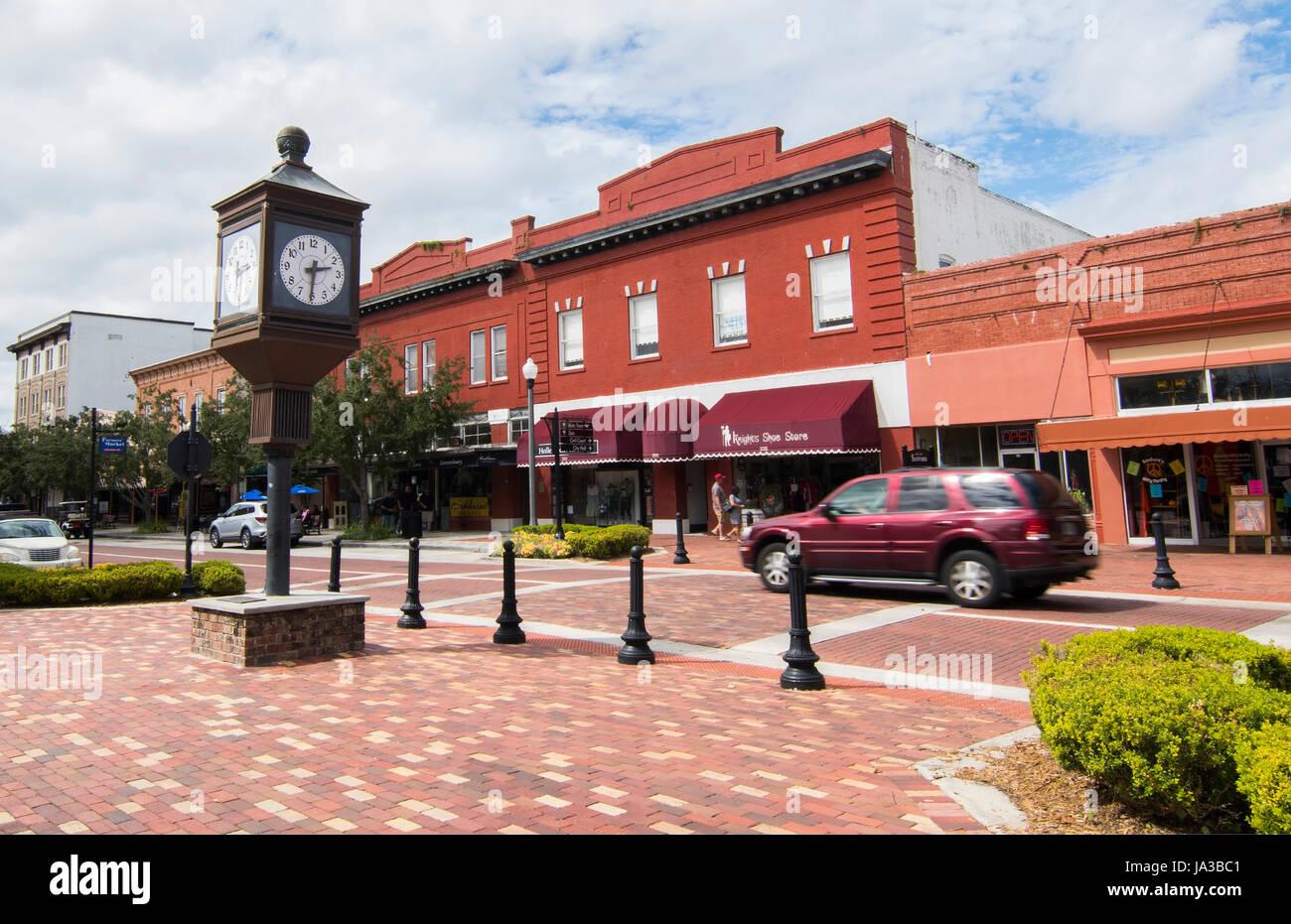 Sanford Florida Centre-ville 1e Rue Rue principale petite ville zone antique restauré ville, Banque D'Images