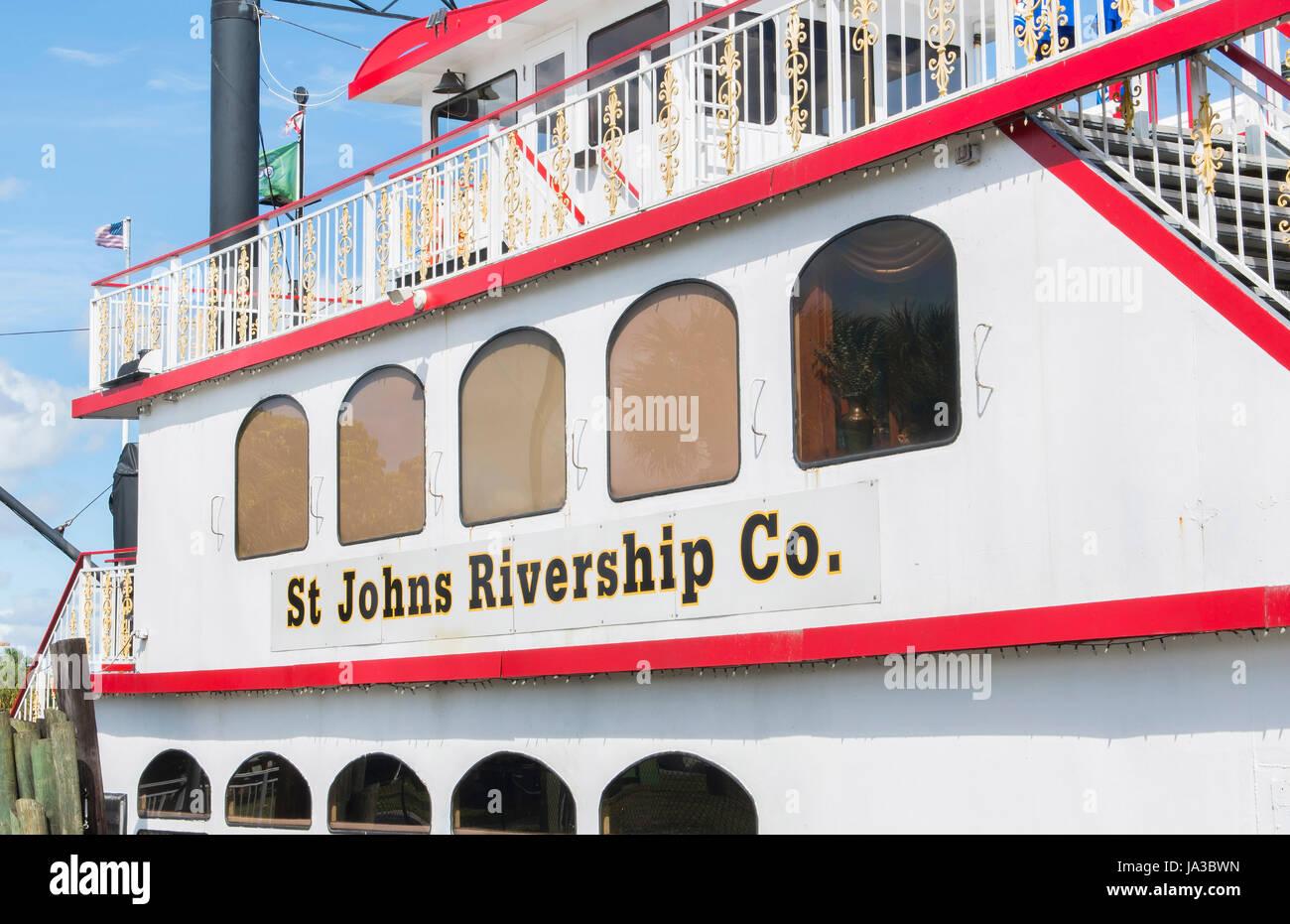 Sanford Florida navire dîner St John Rivership la voile sur la rivière pour les touristes, Banque D'Images