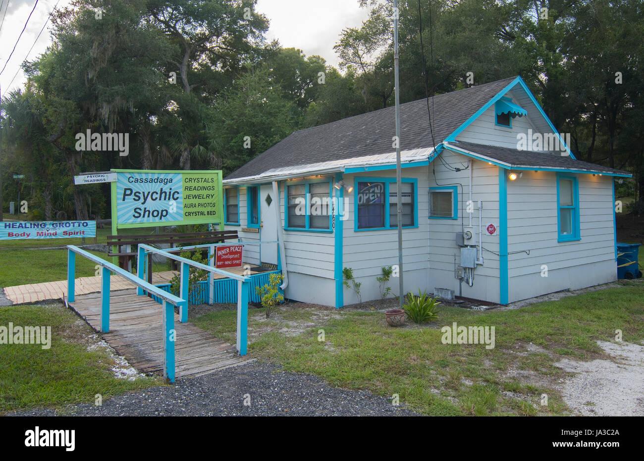 Cassadaga spiritualiste Floride Ville de voyants et mediums Psychic Shop dans le comté de Volusia, Banque D'Images