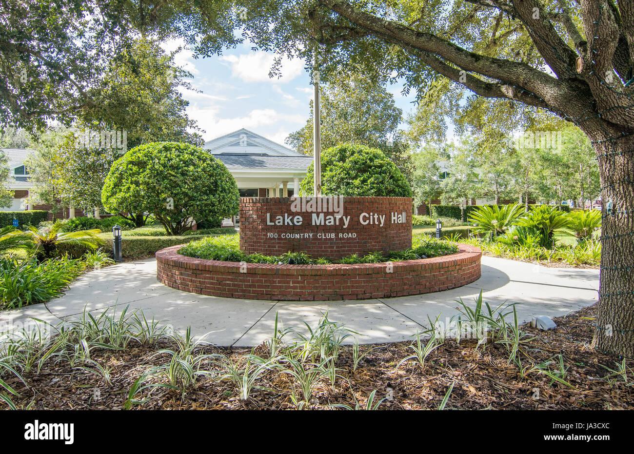 Lake Mary Florida Centre-ville de Lake Mary City Hall à Central Park, Banque D'Images