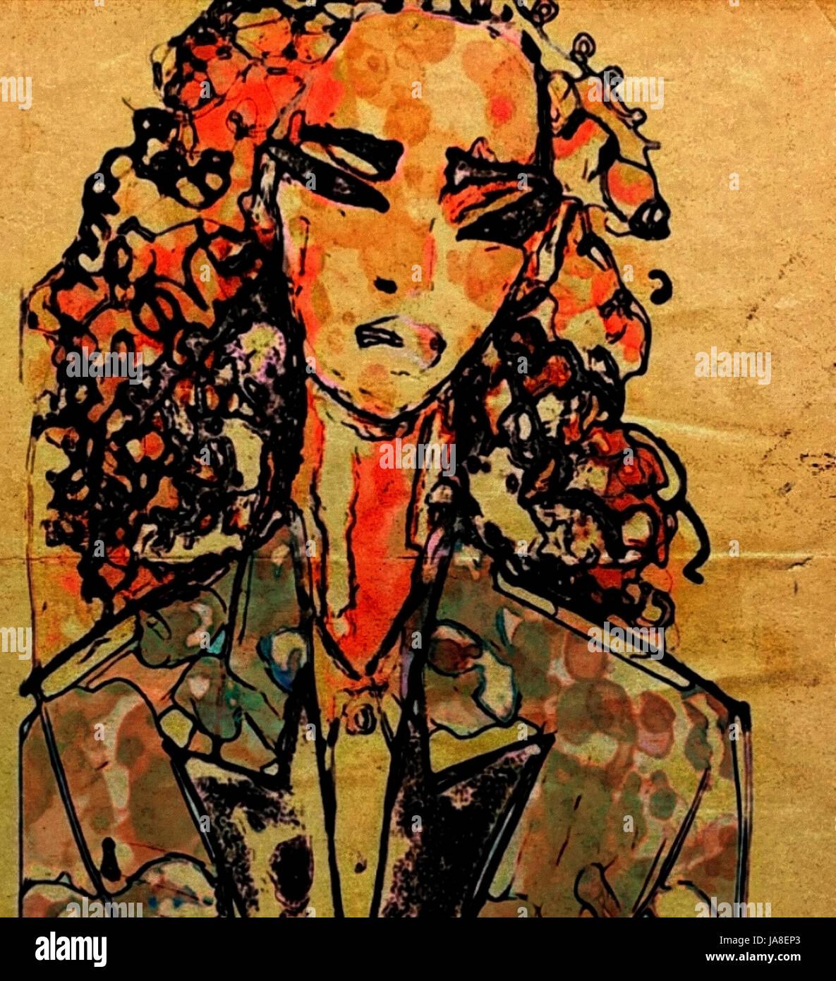 L'art abstrait esquisse d'une belle jeune femme cheveux longs bouclés recouverts de peintures multicolores Banque D'Images