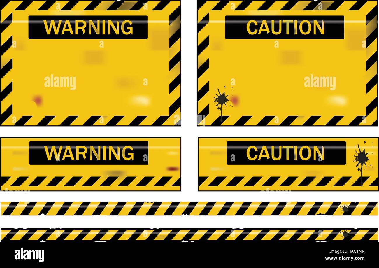 Vieux grungy usés des panneaux d'avertissement jaune et noir Photo Stock