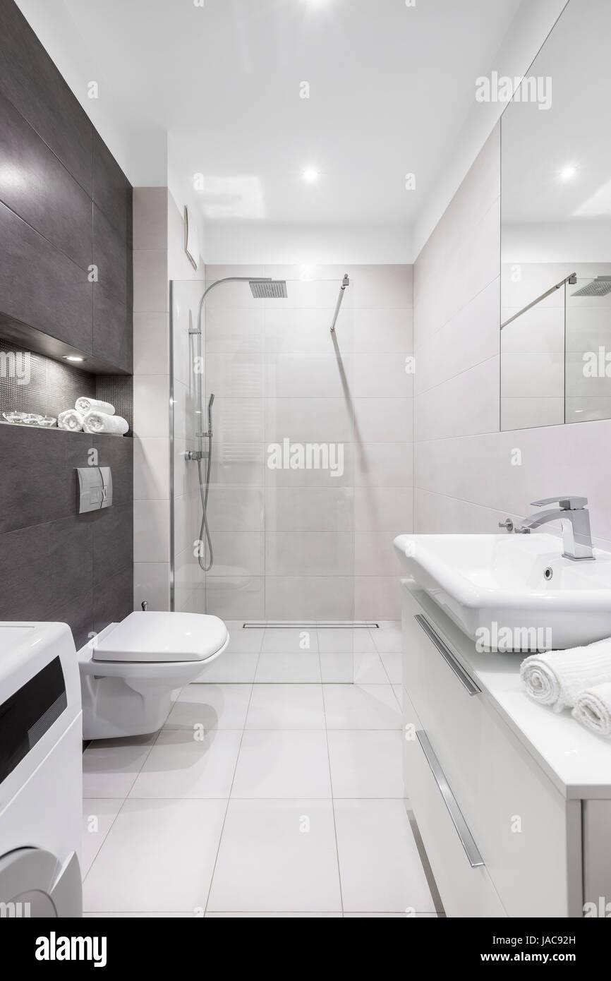 Blanc, Moderne Salle De Bains Avec Douche, Toilettes, Lavabo Et Mur Sombre