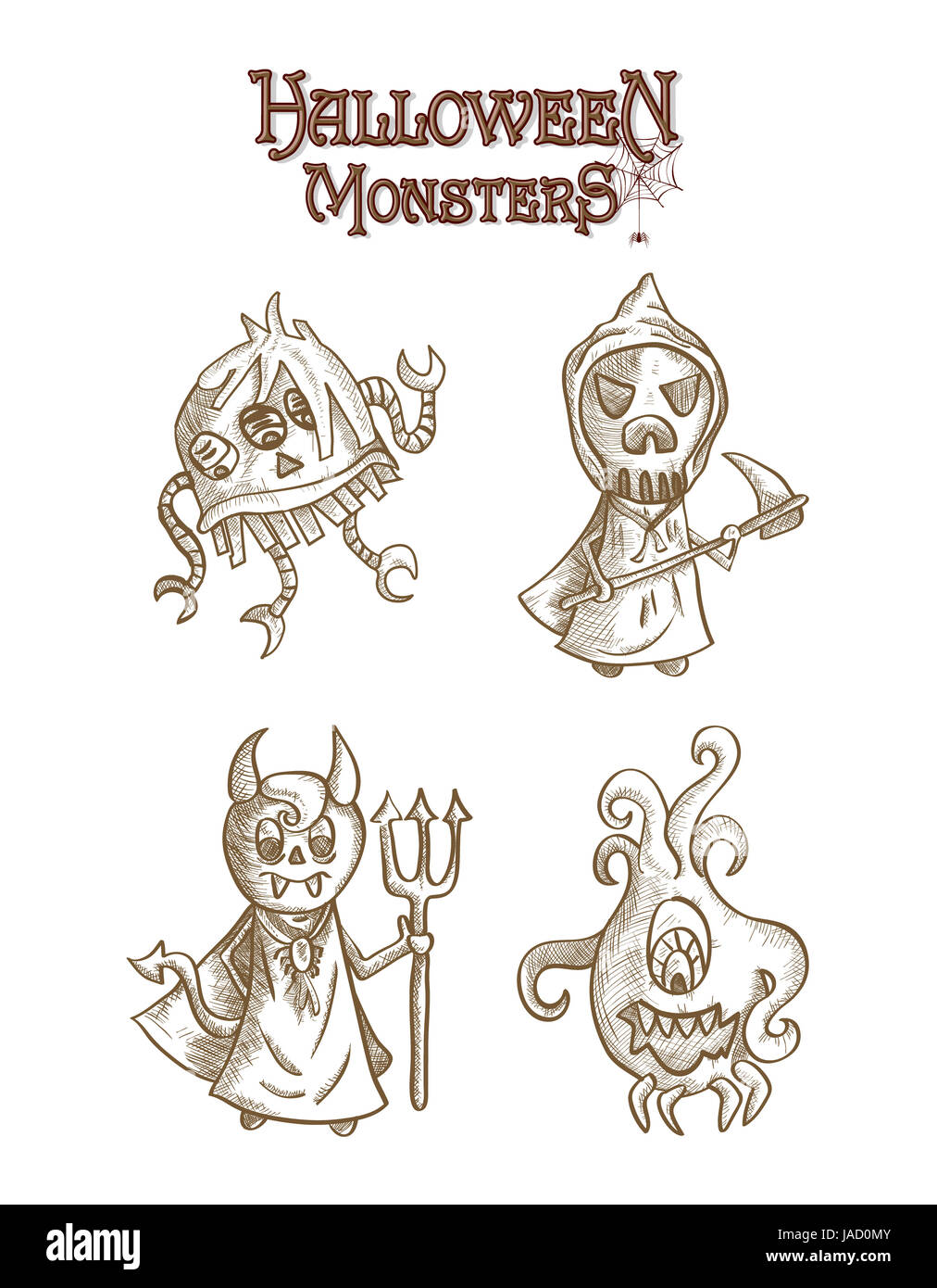 Spooky Halloween Monstres Créatures Style Croquis Dessins