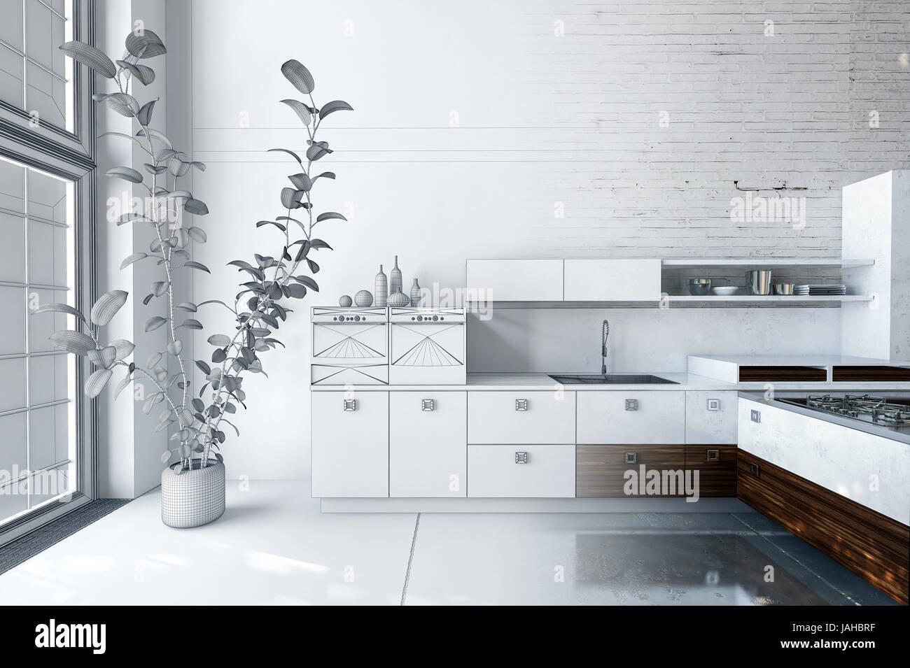 Concepteur De Cuisine Moderne Blanc De Luxe D Intérieur Avec Des