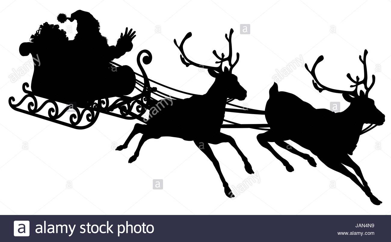 santa sleigh illustration silhouette du p re no l dans son tra neau volant dans le ciel tir par. Black Bedroom Furniture Sets. Home Design Ideas