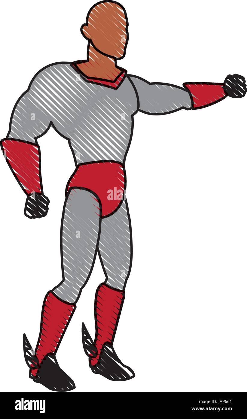 Costume déguisement super-héros cartoon style d'alimentation Photo Stock