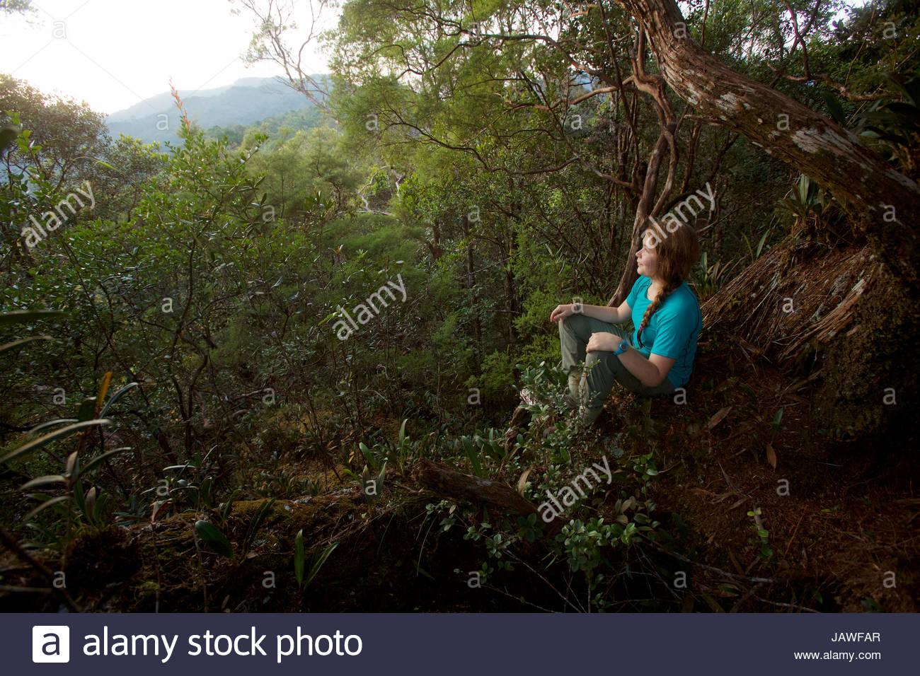 Une fille regarde le lever du soleil à partir de la roche moussue, un point élevé sur la crête Photo Stock
