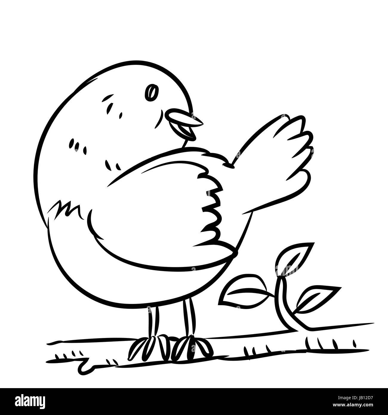 Dessin Caricature Un Oiseau Sur La Branche Dun Arbre En
