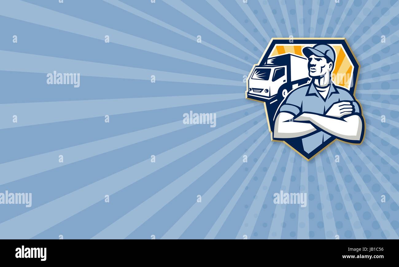 Illustration De Carte Visite Dun Homme Dpose Guy Livraison Avec Camion Dmnagement Van Dans Larrire Plan Dfini Lintrieur Demi Cercle Fait