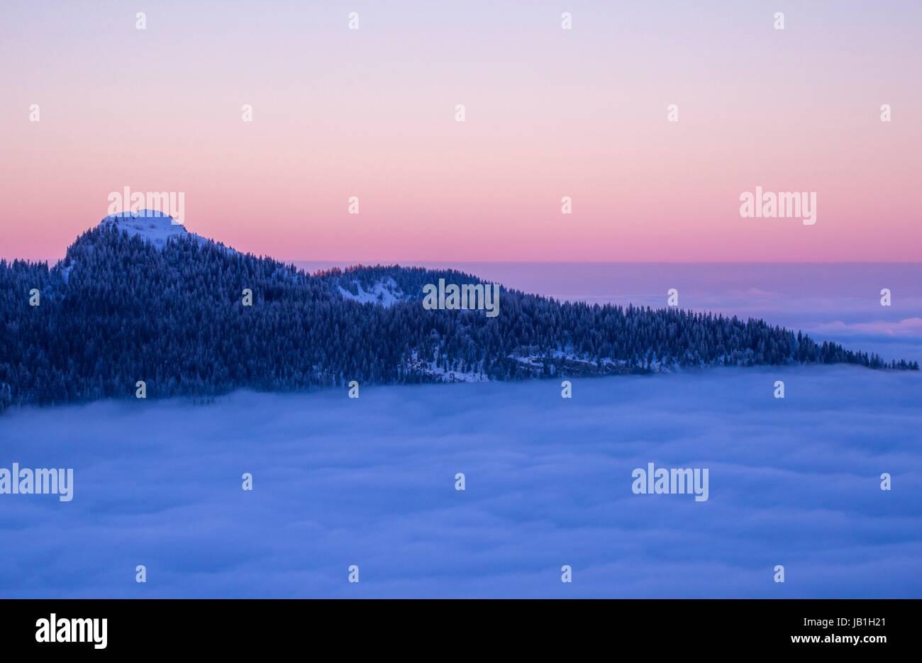 Vue du coucher de 'la Grande Chartreuse Sûre, FRANCE Photo Stock