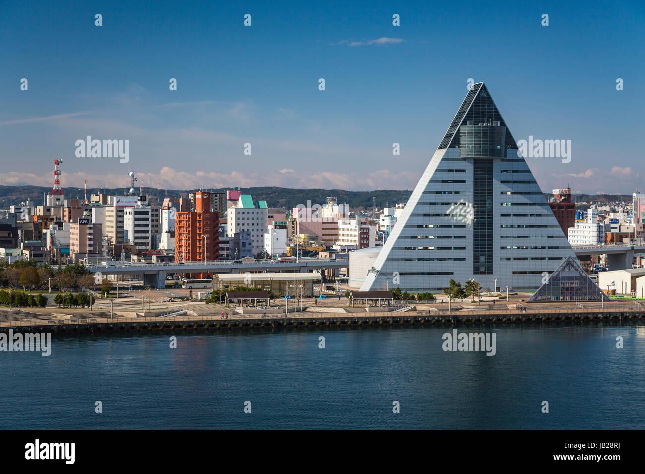 Le port de la ville d'Aomori, au nord du Japon, de la région de Tōhoku. Photo Stock