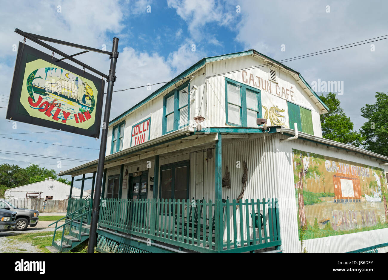 Louisiane, Houma, Jolly Inn, cuisine Cajun Cafe, bar, restaurant, salle de musique Cajun Photo Stock