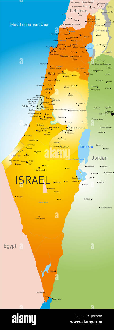 carte détaillée israel