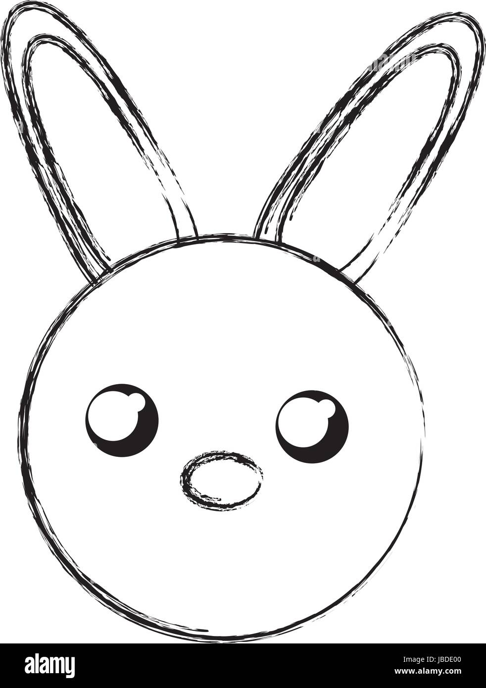 Dessiner Croquis Face Lapin Cartoon Vecteurs Et Illustration