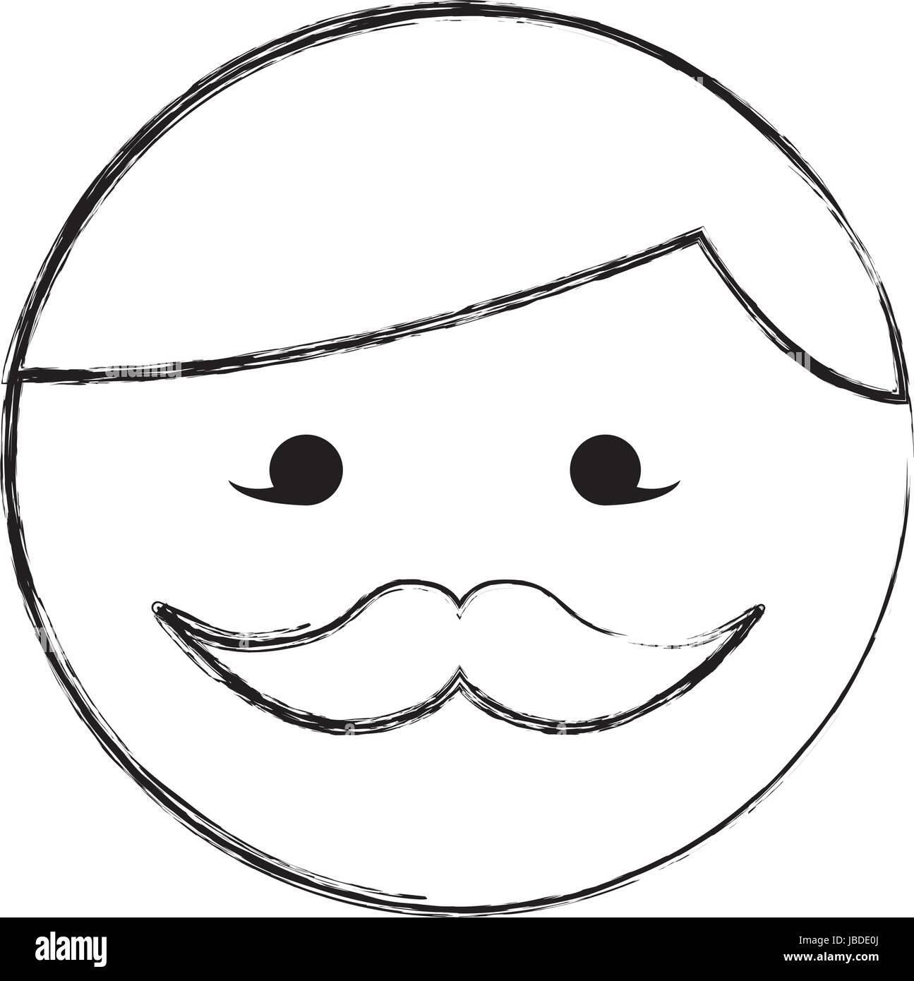 Dessiner Croquis Dessin Animé Visage Homme Moustache Ronde