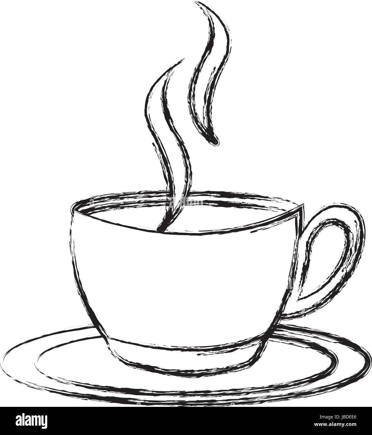 Dessiner Croquis Dessin Anime La Tasse De Cafe Image Vectorielle Stock Alamy