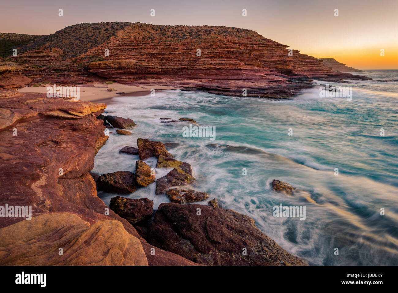 Coucher du soleil à Pot Alley, Parc National de Kalbarri, Australie occidentale Photo Stock