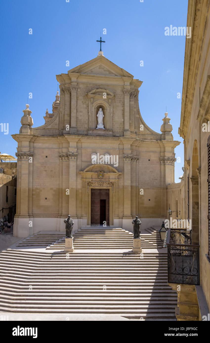 La Cathédrale de Gozo à l'intérieur de la Citadelle de Victoria (ex-Rabat) - Victoria, Gozo, Photo Stock