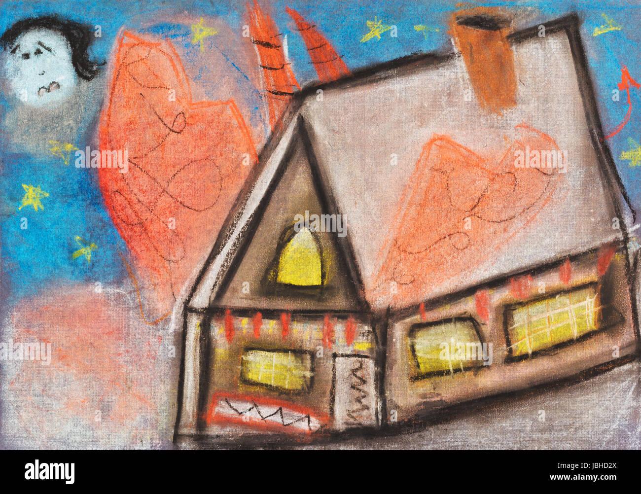 Dessin enfants maison de campagne de nuit sous la pleine lune avec ciel bleu