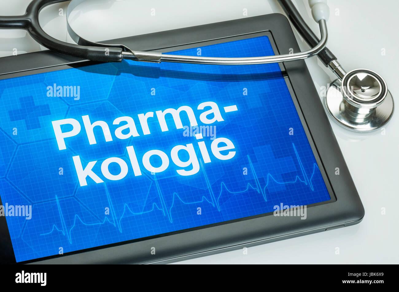 Tablet mit dem Fachgebiet Pharmakologie auf dem Afficher Banque D'Images