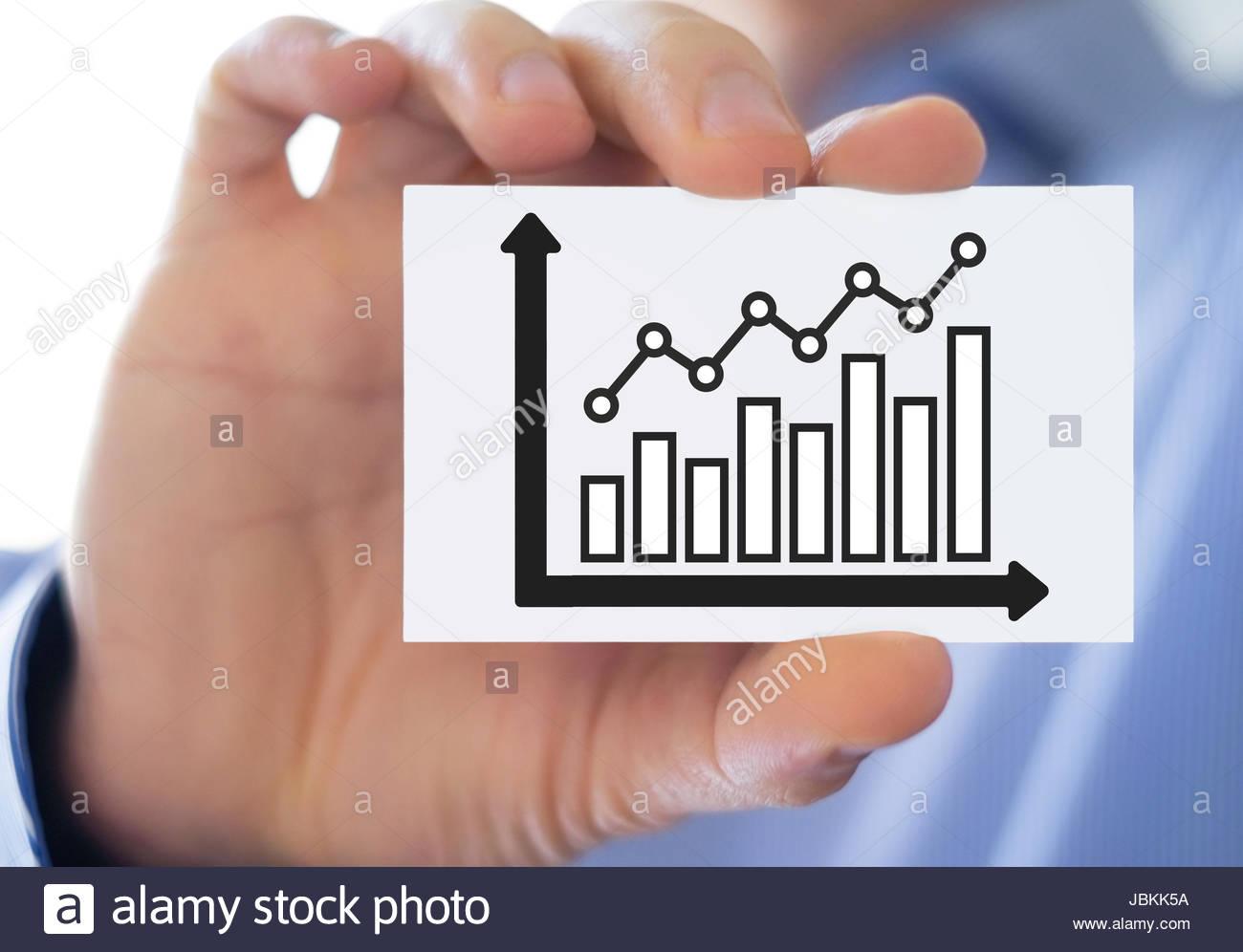 Statistiques de développement graphique graphique - carte de visite Photo Stock