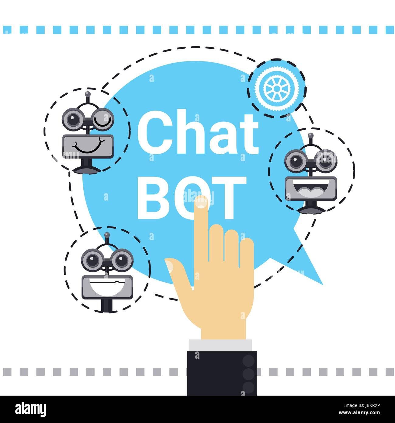 L utilisation de l homme Free Chat Bot, Robot l assistance virtuelle  Élément de site Web ou applications mobiles, concept d Intelligence  Artificielle bc048a949a42