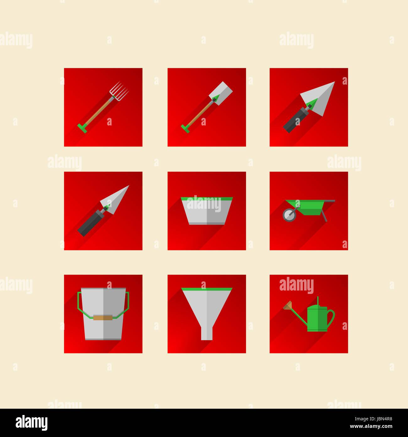 Les Outils De Jardinage Avec Photos square des icônes rouges pour outils de jardinage avec des