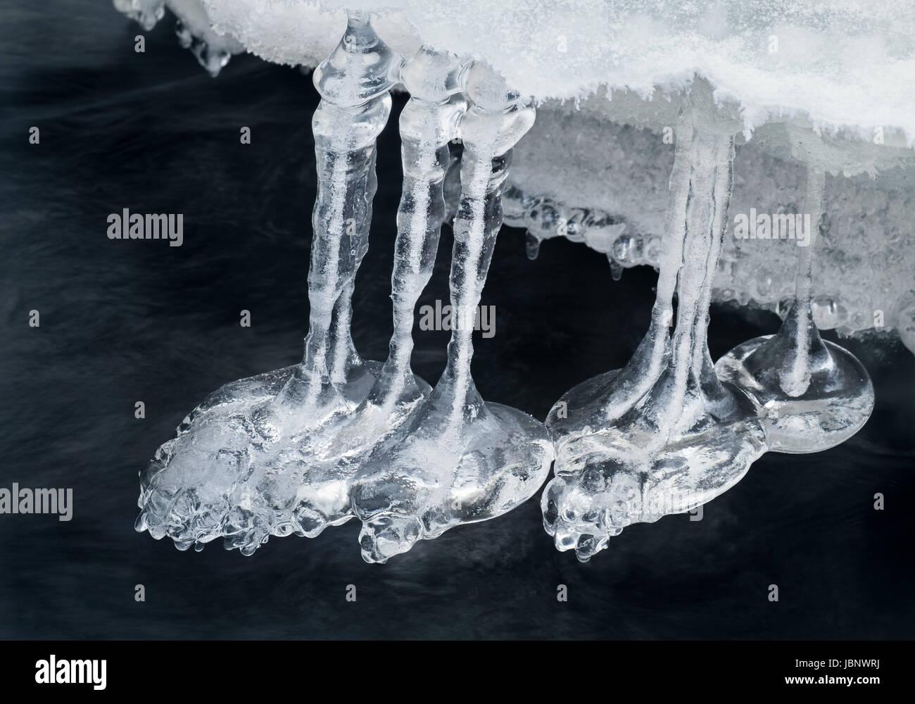 Close up de belles formes de glace à l'heure d'hiver dans la région de River Photo Stock