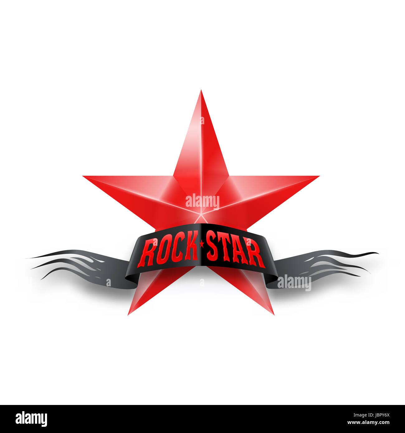 étoile Rouge Avec Noir Déchiré Rock Star Banner